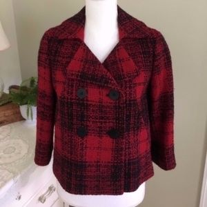 Talbots Red and Black Boucle Wool Pea Coat